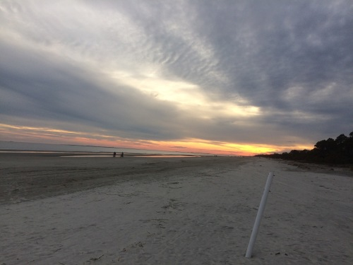 Barrier island beach at sunset